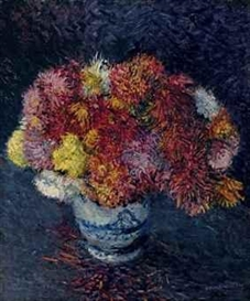 Artwork by Gustave Caillebotte, Bouquet de chrysanthèmes, Made of oil on canvas