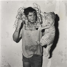 Artwork by Roger Ballen, Cat Catcher, 1998, Made of Selenium-toned gelatin silver print