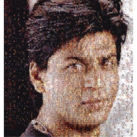 Artwork by Rashid Rana, Ommatidia III (Shahrukh Khan), Made of Digital chromogenic print on archival paper diasec mounted