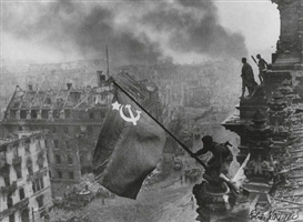 Artwork by Yevgeny Khaldei, 2 variant prints: Raising the Soviet Flag Over the Reichstag, Berlin, Made of Silver prints