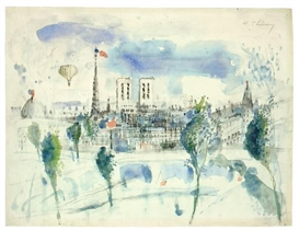 Artwork by Wilhelm Thöny, PARIS, Made of Watercolour on firm laid paper