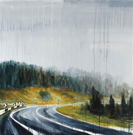 Artwork by Alex Cecchetti, Strada di montagna, Made of oil and acrylic on canvas