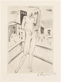 Artwork by Heinrich Stegemann, Weiblicher Akt vor Stadtarchitektur, Made of Etching