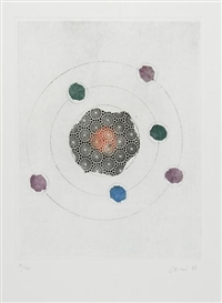 Artwork by Eugenio Carmi, 2 works: The Atom; The Meadow, Made of Aquatints printed in colors