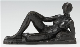 Artwork by Charles Despiau, Reclining Nude, Made of bronze with dark brown patina