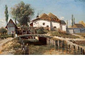 Artwork by Theodor von Hörmann, Muhle in Miskolez, Made of Oil on panel
