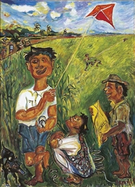 Artwork by Sudjana Kerton, Anak Bermain Layangan (Boys with Kites), Made of oil on canvas