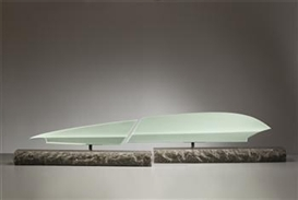 "Artwork by Sueharu Fukami, Two works: ""Harukeku II"", Made of Porcelain, celadon glaze, granite"
