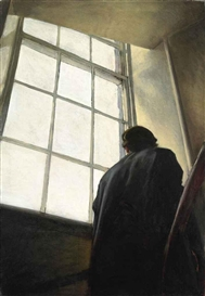 Artwork by Stephen Conroy, Man on Stairs, Made of oil on canvas