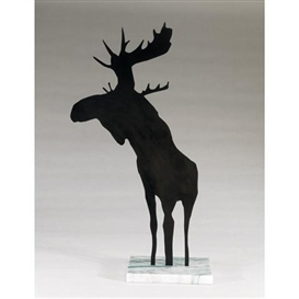 Artwork by Charles Pachter, MOOSAMOUR, Made of baked enamel on aluminum, mounted on a granite base