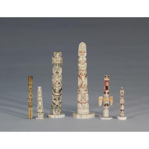 Haida School Of Art Six Works Five Miniature Totems And One Cigarette Holder Mutualart