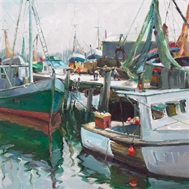 Artwork by Francesco Iacurto, PREPARING THE FISHING BOATS, Made of oil on canvas