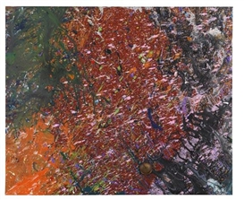Artwork by Shozo Shimamoto, Magi 922 (Bottle crash), Made of Acrylic and broken glass on canvas