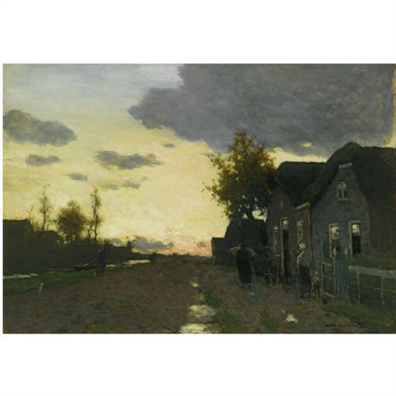 Farmhouse At Dusk: Hendrik Johannes Weissenbruch