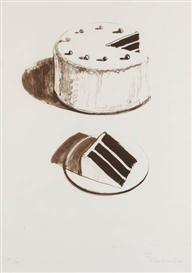 Artwork by Wayne Thiebaud, Chocolate Cake, Made of Color lithograph on Rives BFK paper