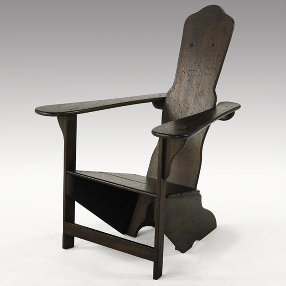 Exceptional Artwork By Gino Levi Montalcini, Rustic Lounge Chair, Made Of Mahogany