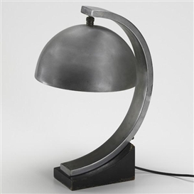 Artwork by Donald Deskey, Desk lamp, Made of Aluminum, nickel-plated brass, enameled wood