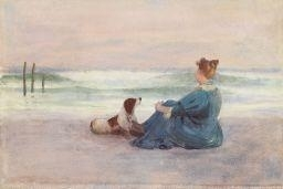 Thomas Anshutz, MRS. ANSHUTZ AND DOG AT HOLLY BEACH