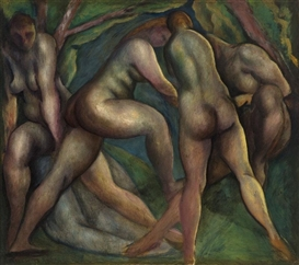 Artwork by Lorser Feitelson, Bathers, Made of oil on canvas laid to canvas