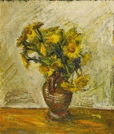 Artwork by Anton Räderscheidt, Flower still life in brown Jug, Made of Oil on canvas