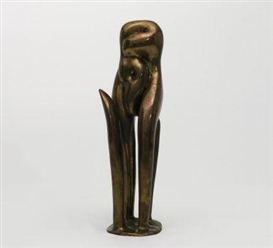 Artwork by Emil Cimiotti, Standing nude, Made of Bronze, gilt and polished