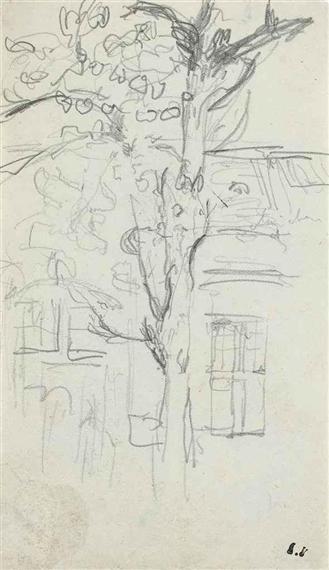 Vuillard Edouard 3 Works Arbre Devant Une Maison Dessin