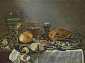 Pieter Claesz, A half-peeled lemon on a pewter platter, a roemer filled with wine, shrimps in a porcelein bowl, a glass of beer, a mackerel on a pewter platter, a salt cellar, a cooked bird on a pewter plate, bread, chestnuts, grapes and tabacco on a partly draped table