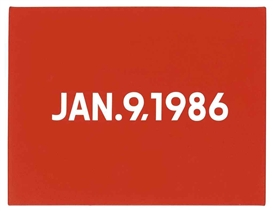 Artwork by On Kawara, January 9, 1986, Made of Liquitex on canvas and handmade cardboard box with newspaper clipping from The New York Times