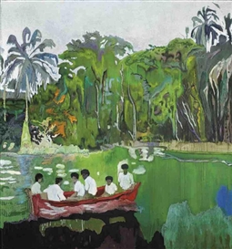 Artwork by Peter Doig, Red Boat (Imaginary Boys), Made of oil and metallic silver paint on canvas