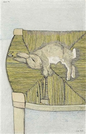 Artwork by Lucian Freud, Rabbit on a Chair, Made of pencil and crayon on paper