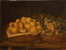 German School, 19th Century, A still life with apples and other fruit in baskets resting on a table