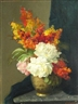 Unknown , A still life of flowers in a vase