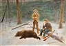American School, 20th Century, Two hunters with a bear