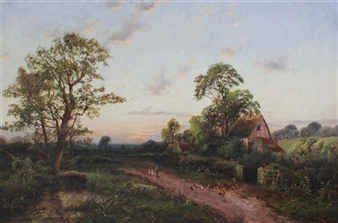 Hens and cottages beside a lane By Octavius T. Clark