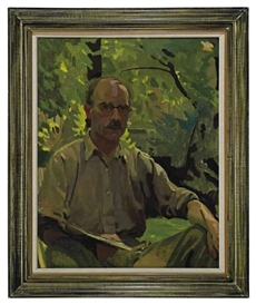 Artwork by William John Leech, A self-portrait, seated in a garden, Made of oil on canvas