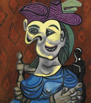 Femme assise, robe bleue; by Pablo Picasso