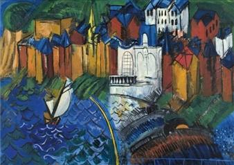 Le casino de Sainte-Adresse au pêcheur, by Raoul Dufy