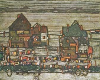 Häuser mit bunter Wäsche (Vorstadt II) by Egon Schiele