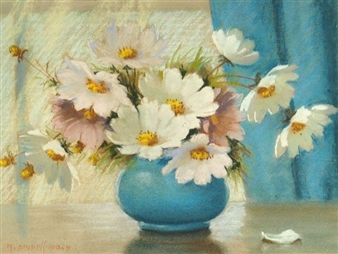 Cosmos Floral Still Life By Mae Bennett Brown