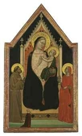 Artwork by Bernardo Daddi, The Madonna and Child enthroned with Saints Francis and Mary Magdalen and a female donor, Made of tempera and gold leaf on panel