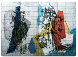 Artwork by Paul László, Decorated Screen, Made of Hand painted glass tiles