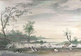 Artwork by Pieter Holstein, Herons, ducks and other waterfowl in a river landscape, Made of bodycolour, laid down on panel