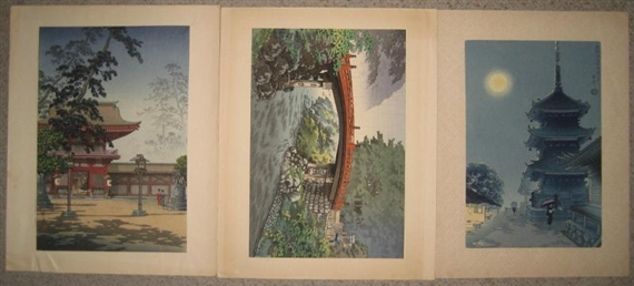 Artwork By Hiroshige III Three Part Color Woodblock Print Depicting Multiple Gods And Attendants