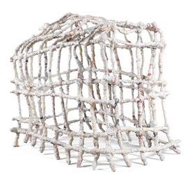 Artwork by Phyllida Barlow, untitled: gridcage, Made of fabric, plaster and scrim over aluminium armature