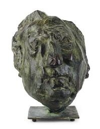 Artwork by Pablo Serrano, Portrait of Joseph H. Hirshhorn, Made of Bronze with green patina