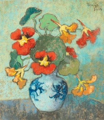 conrad nagel domantheys nasturtiums in a blue and white vase 2003