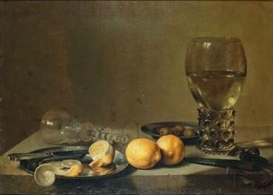 Artwork by Pieter Claesz, Stilleben med citroner, Made of Oil on relined canvas