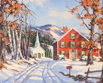 2 works: New England Snow Scenes By Jacob I. Greenleaf