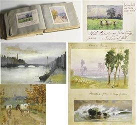 Nathaniel Hill, A RARE COLLECTION OF NINE WATERCOLOURS MOUNTED IN AN EDWARDIAN SCRAPBOOK