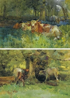 2 works: CATTLE RESTING IN WOODLAND and CATTLE GRAZING BENEATH TREES By Mildred Anne Butler